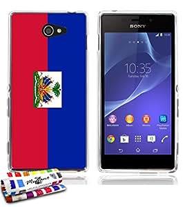 Carcasa Flexible Ultra-Slim SONY XPERIA M2 de exclusivo motivo [Bandera Haiti] [Transparente] de MUZZANO  + ESTILETE y PAÑO MUZZANO REGALADOS - La Protección Antigolpes ULTIMA, ELEGANTE Y DURADERA para su SONY XPERIA M2