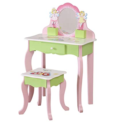 Wodeny Childrens Vanity Table Set Dressing Table Kids Dresser
