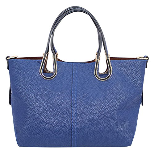 Hellofashion Women's A Huge Leather Tote Bag Royalblue One Size