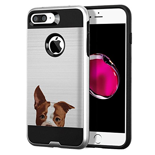 (FINCIBO Case Compatible with Apple iPhone 7 Plus / 8 Plus, Dual Layer Brushed Hybrid Hard Protector Case Cover TPU for iPhone 7 Plus / 8 Plus (NOT FIT iPhone 7/8) - Brown American Pit Bull Puppy Dog)