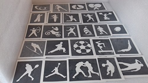 25 x sport themed stencils for etching on glass mixed gift present glassware hobby craft cheerleader baseball football -