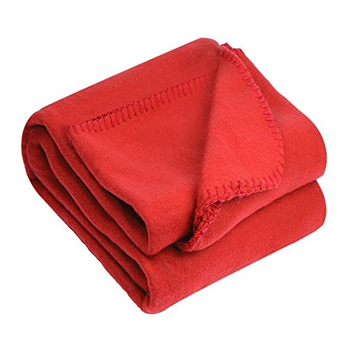 Great Quality 8 Colors Twin 50 by 60 Bed Throw Blankets, Solid Red (Twin Red Blanket)