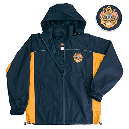 US NAVY Jacket Hooded Light Weight Rain Resistant Windbreaker Jacket Reflective Safety Piping And Removable Hood Mesh Nylon Liner Embroidered Logo Draw Sting Waist X-Large Black-Gold