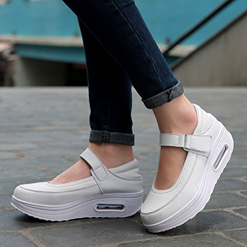 Enllerviid Rx2968baise36-pimian Mujer Shape Up Mary Jane Zapatos Blanco Fitness Tono Walking Sneakers Blanco 5.5 B (m) Us