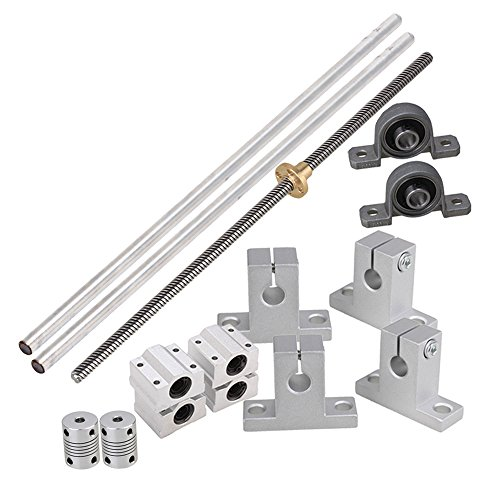 BQLZR Horizontal Linear 300mm Optical Axis & 8mm Lead Rods with Nuts Linear Slide Block & Stepper Coupler Dual Rail Support Pack of 15