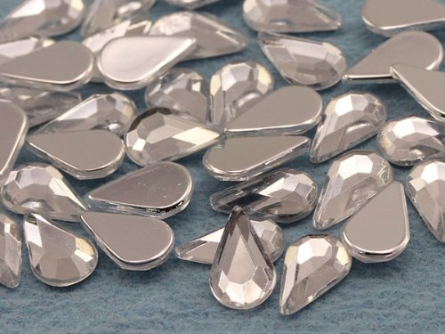 10x6mm Flat Back Teardrop Acrylic Jewels Pro Grade - 100 Pieces (Crystal Clear A01)