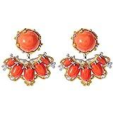Michael Valitutti Palladium Silver Salmon Bamboo Coral Stud Earrings w/ Earring Jackets