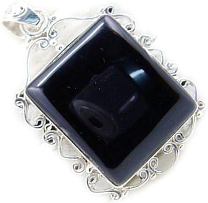 Jewelryonclick Real Black Onyx 925 Silver Pendant Gemstone Vintage Style Chakra Healing Necklace Handmade