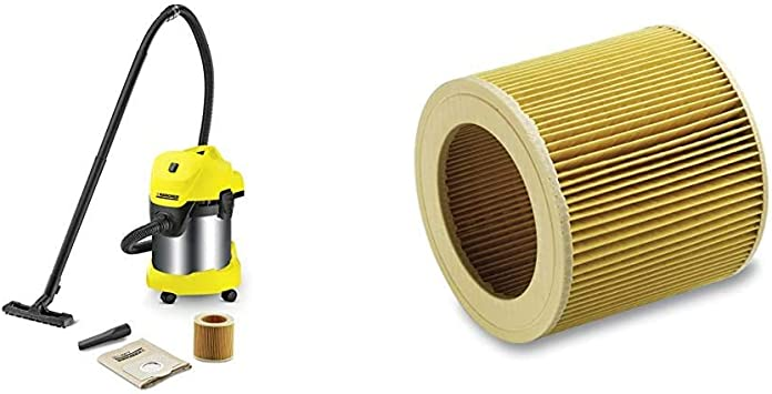 Kärcher WD 3 Premium - Aspirador en seco y húmedo, 1000 W, 17 l + Kärcher Filtro de cartucho WD2-WD3: Amazon.es: Bricolaje y herramientas