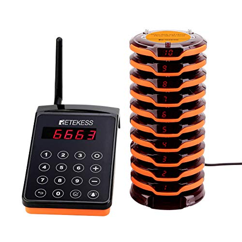 Retekess TD156 Restaurant Pager System Wireless Calling System with 10 Portable Coaster Pagers 1 Keypad Transmitter Pagers and Beepers for Restaurant