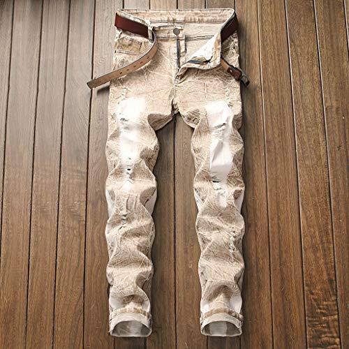 Uomo Pantaloni Con Zip Skinny Elasticizzati Strappati Jeans Cachi Denim Slim Da Fit Timemean Denudati Pwx7ZEqYn7