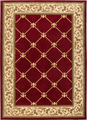 Well Woven Timeless Fleur De Lis Red Formal Area Rug 9'2