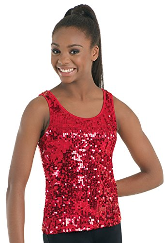 Balera Tank Top Girls Top for Dance Womens Shirt with Sequins and Wide Straps Red (Top Sequin Dance)
