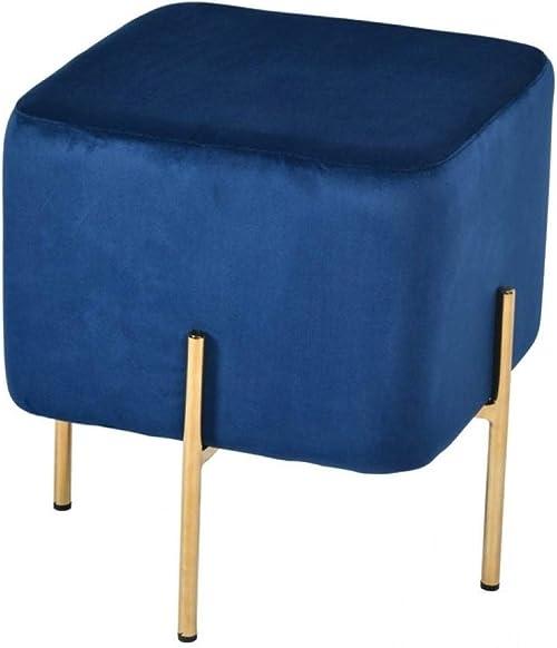 Overstock Modrest Daphne Modern Blue Velvet Gold Ottoman