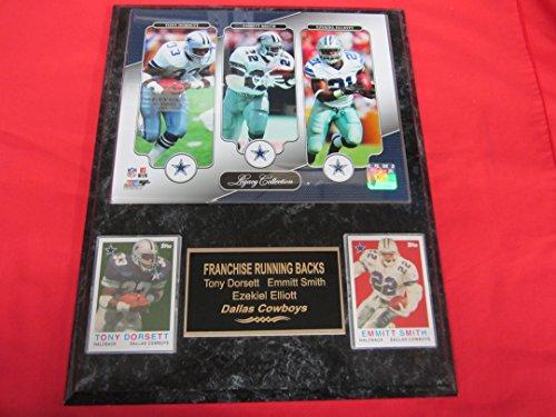 - Ezekiel Elliott Emmitt Smith Tony Dorsett Dallas Cowboys 2 Card Collector Plaque w/8x10 LEGACY COLLECTION Photo