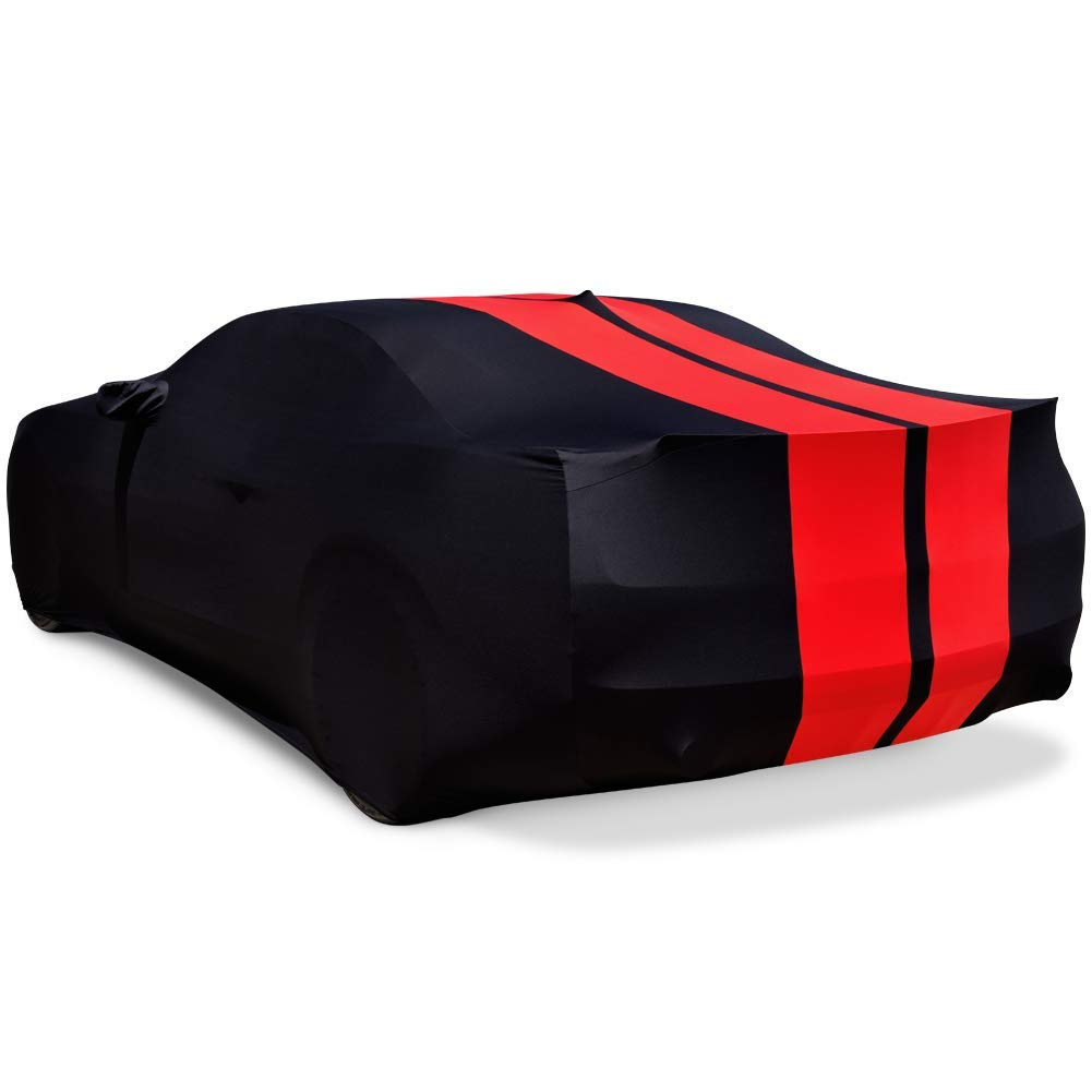 2010-2019 Camaro Ultraguard Sport Series Stretch Satin Indoor Car Cover Black with Red Stripes