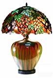 grape tiffany lamp - Warehouse of Tiffany 2562+PB07 Tiffany-style Grape Lamp With Ceramic Base, Green