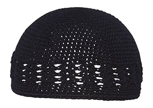 - TOP HEADWEAR Black Crochet Knit Beanie Skull Cap Hat