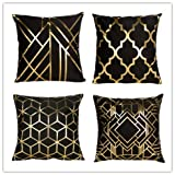 4 Pack Geometries Black and Gold Decorations Pillow Home Pillowcases Throw Pillow Cover Love Letter Pattern Design Model Room Pillow Rock Punk Neoclassical Style 18 inches