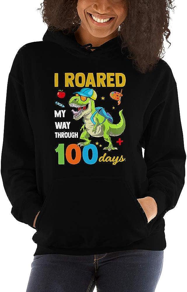 TEEPOMY I Roared My Way Through 100 Days Saurus Rex Unisex Hoodie