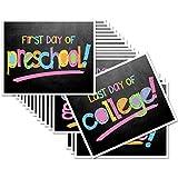 First Day & Last Day of School 8x10 Photo Prop Signs Complete Series Preschool thru College in Pastel Colors for Girls, 16-Grade Levels: Preschool, Pre-K, Kindergarten, 1st - 12th Grades to College