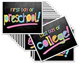 First Day & Last Day of School 8x10 Photo Prop Signs Complete Series Preschool thru College in Pastel Colors for Girls, 16-Grade Levels: Preschool, Pre-K, Kindergarten, 1st - 12th Grades to College
