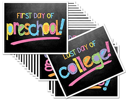 Back to School Signs, 16 Grades Chalkboard First Day of School & Last Day Photo Prop Signs (Pastel Text for Girls)