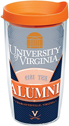 - Tervis 1210777 Virginia Cavaliers Alumni Insulated Tumbler with Wrap and Orange Lid, 16 oz - Tritan, Clear