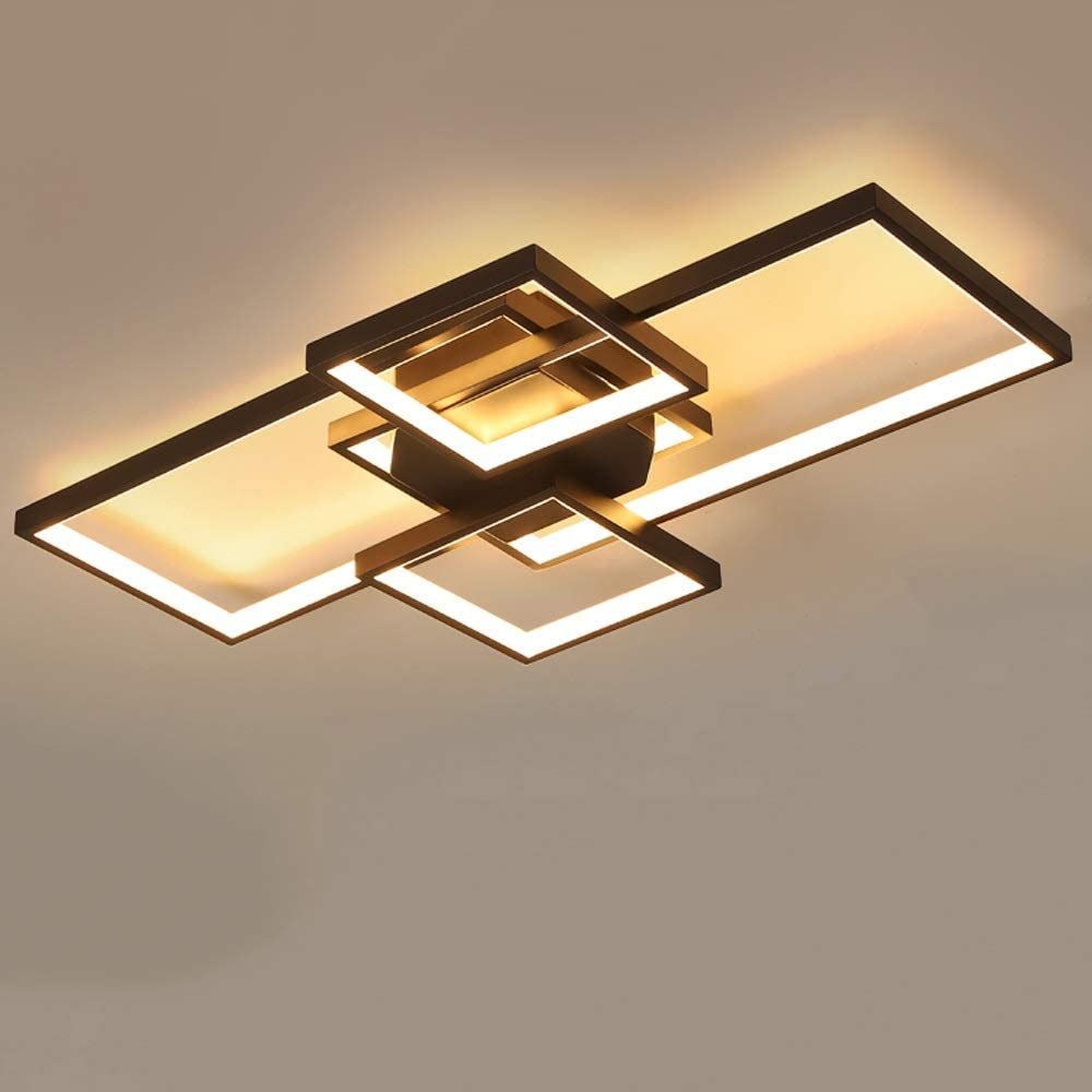 Aiqiyi Nordic Wood Lamp Home Atmosphere Creative Rectangular Salon Lampe Ménage Plafonnier Réchauffé Plafonnier LED Plafonnier Simple Moderne Chambre Salle D'étude Neutre Lumière