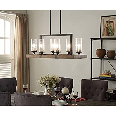 Vineyard 6-Light Metal and Wood Chandelier