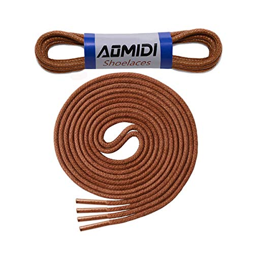 """Round Waxed Shoelaces (2 pair) - for Oxford Shoes Round Dress Shoes Boots Leather Shoe Laces (24"""" inches (61 cm), Light Brown)"""