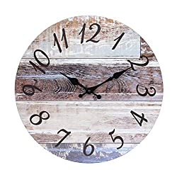 Stonebriar Vintage Farmhouse 14 Inch Round Hanging Clock, Battery Operated, Rustic Wall Decor for The Living Room, Kitchen, Bedroom, and Patio, Worn Wood