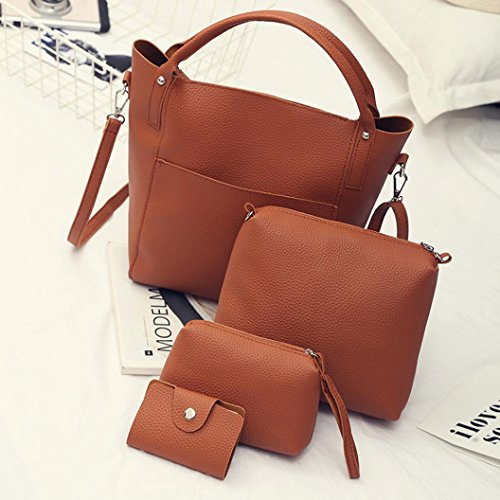 Women Pieces Bag Four Tote Bags Set Shoulder Handbag Four Wallet Crossbody Brown Women's VIASA ax1wgZHqZ