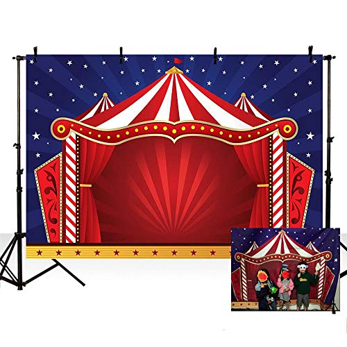 MEHOFOTO 8x6ft Dark Blue Sky White Stars Photo Studio Booth Background Red Circus Themed Kid Birthday Party Banner Backdrops for Photography -