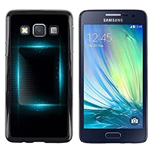 FlareStar Colour Printing Blue Light Vibrant Black Night Square cáscara Funda Case Caso de plástico para Samsung Galaxy A3 / SM-A300