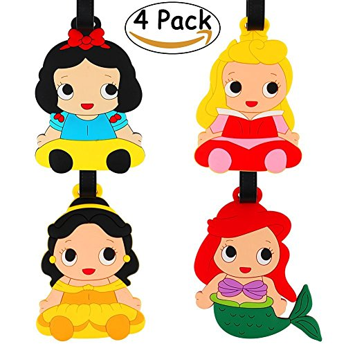 JoyJon 4 Pack Unique Princess Luggage Tags Adjustable Strap Name ID Labels Baggage Tag For Your (Ariel Personalized)