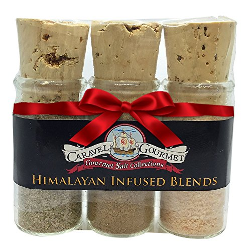 Gourmet Himalayan Infused Sea Salt - Authentic Himalayan Pink Sea Salts All Naturally Infused with Garlic Herbs & Porcini - Kosher Certified - Trio Sampler Gift Set - 2.1 Oz In Glass Tubes with Cork