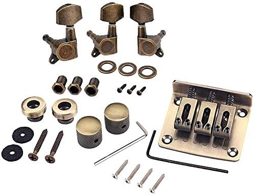 Alnicov Combo Kits Bronze Saddle Bridge Tuning Pegs Control Knobs Strap Locks Wrenches Screws Washers for 3 String Cigar Box Guitar