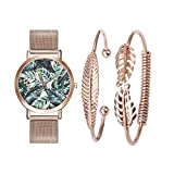 Souarts Rose Gold Color Tropical Leaf Stainless Steel Mesh Strap Quartz Girls Watch Bracelet Jewelry Set