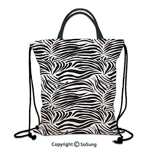 Zebra Print 3D Print Drawstring Bag String Backpack,Striped Zebra Animal Print Nature Wildlife Inspired Fashion Simple Illustration,for Travel Gym School Beach Shopping,Black White