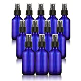 12-Pack Misting Spray Bottles - 2 oz Cobalt Blue Boston Round Atomizer Spritz Bottles for Essential Oils and Perfume