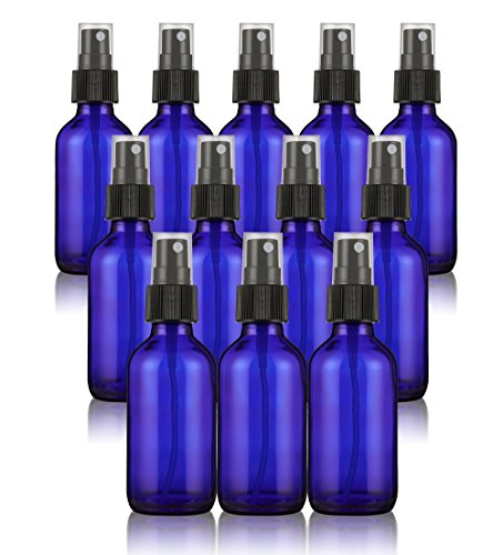Misting Spray Glass Bottle - 12-Pack Fine Mist Bottles with Atomizer Pumps Sprayer and Cap - Refillable and Reusable Empty Glass Bottles for Essential Oils, Perfumes, Cleaners, Travel - Blue, 2 oz by Juvale (Image #5)