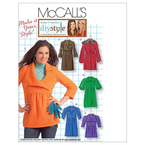 McCall's Patterns M5714 Misses' Unlined Jackets and Coats, Size DD (12-14-16-18) (Wool Coat Gathered)