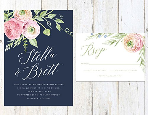 Navy Blush and Rose Wedding Invitation, Floral Wedding Invitation, Rose and Peach Invitation by Alexa Nelson Prints