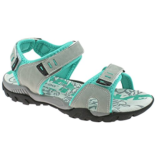 Ladies PDQ Adjustable Sports Walking Sandals Light Grey Mint L498 KD -UK 8 (EU 41)