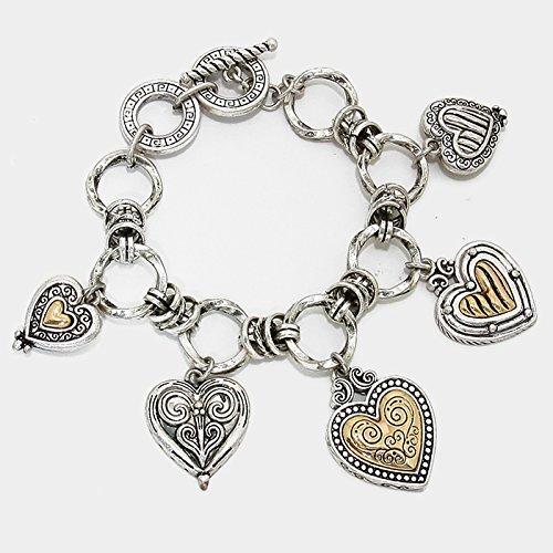 Silver Textured Heart Reversible Charm B - Reversible Heart Bracelet Shopping Results