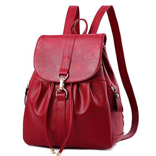 (JVP1040-C) señoras bolso de la espalda PU cuero azul marino vino negro de gran capacidad bolsa de viaje de regreso las mujeres de hombro bolsa de moda popular liviano escuela suburbana Vino Tinto
