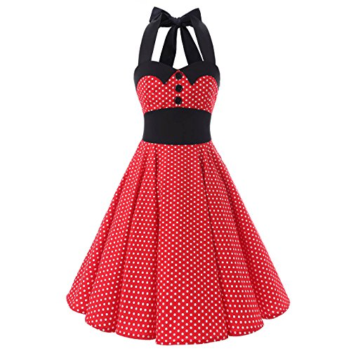 Polka Dot Pinup Dress (Women's Black Collars Halterneck Polka Dot Floral 50s Inspired Vintage Rockabilly Swing Pinup Dresses (XXL (US 10-12), Red White Mini))