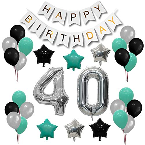 Turquoise 40th birthday decorations - Happy Birthday Banner | 7 Turquoise Balloons + 7 Silver Balloons + 6 Black Balloons | 2 Silver Number Balloons 40