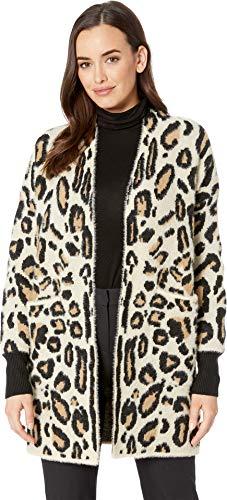Vince Camuto Womens Long Sleeve Cheetah Eyelash Two-Pocket Cardigan Wood Ash MD